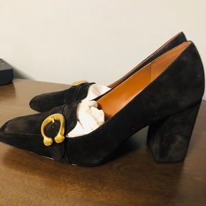 COACH black suede buckle high heels